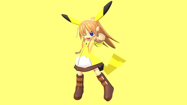 Chibi Pika girl 3D Model