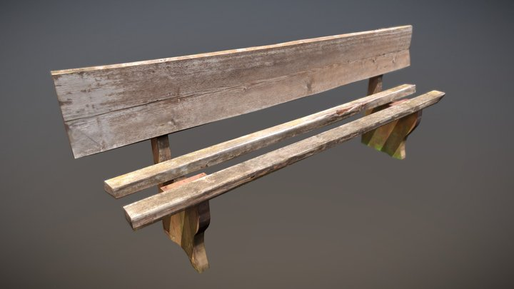 Old, worn wooden bench (LowPoly) 3D Model