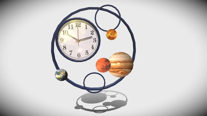 Clock planets style on wall (LP) 3D Model