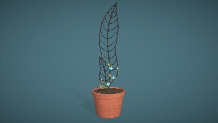 Trellis with a flowering vine 3D Model