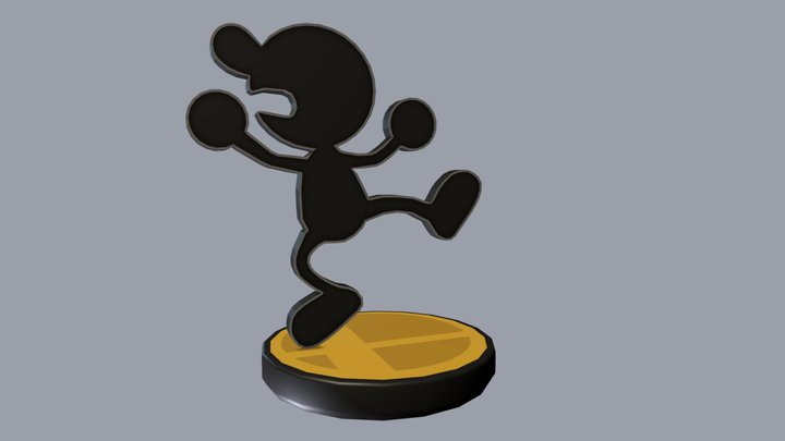 Mr. Game & Watch Amiibo 3D Model