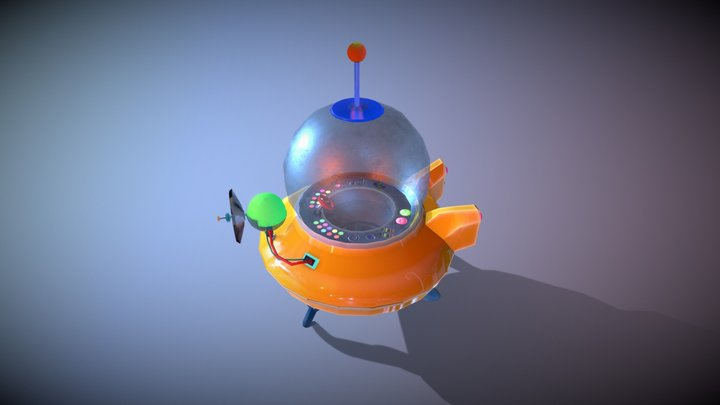 Retro Spaceship stilyzed hand painted 3D Model