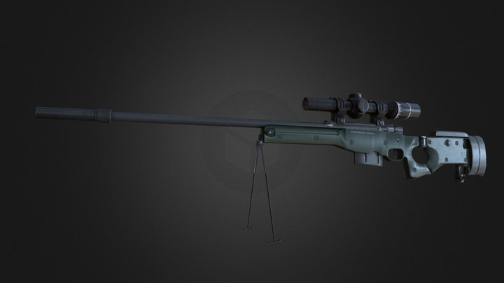 AWM Sniper lowpoly Gun with 8X Scope, Suppressor 3D Model