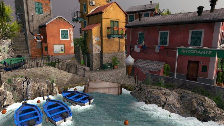 Cinque terre Cityscene Diorama 3D Model