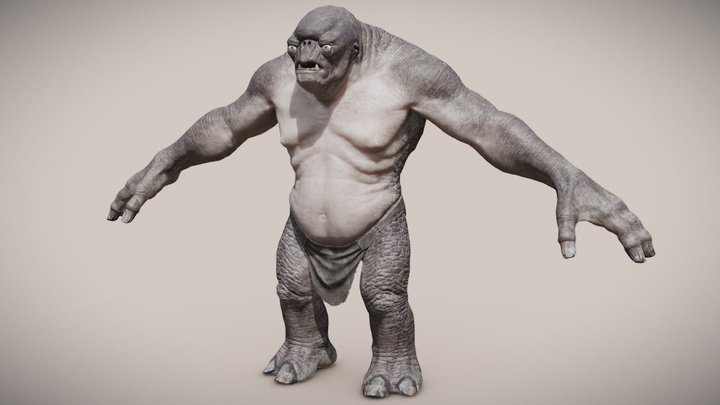 LOTR Cave Troll - (for animating/rigging) 3D Model