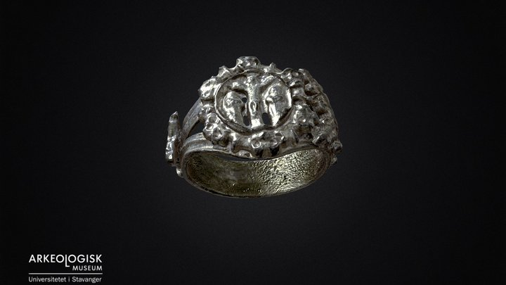 Ring of gold plated silver. Middel ages. 3D Model