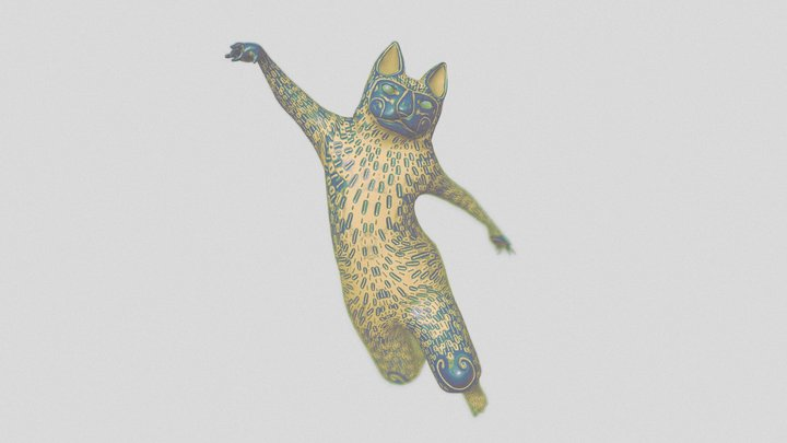 Cat in motion Statue 3D Model