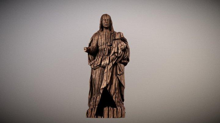 Virgen tallada en madera 3D Model