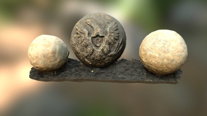 Civil War Cavalry Uniform Button + Musket Balls 3D Model