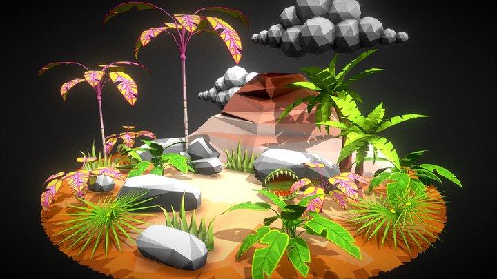 Low Poly Environment Set 002 - Tropical Assets 3D Model