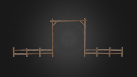 Fence and Gate (Wood) 3D Model