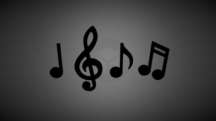 Music Notes & Symbols 3D Model