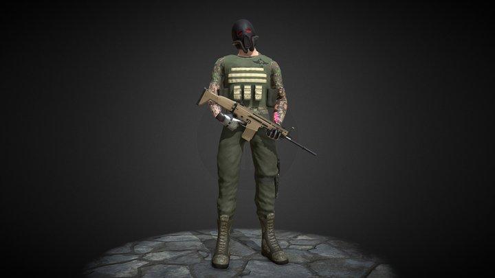 X-Alliance low poly soldier 3D Model