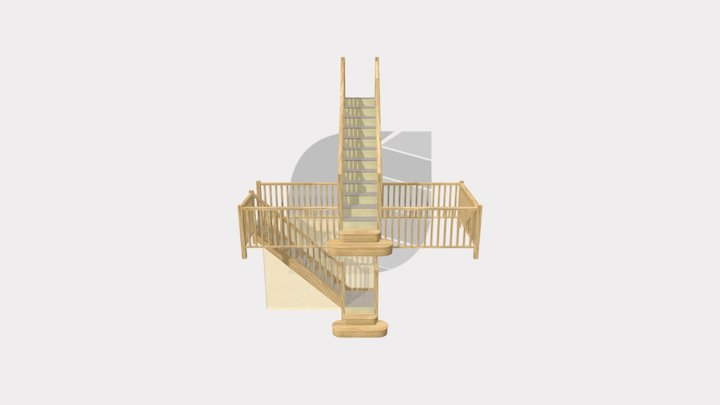 Two White Oak Stairs manufactured for Mr Andrews 3D Model