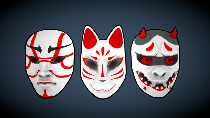 Japanese Mask Collection 3D Model