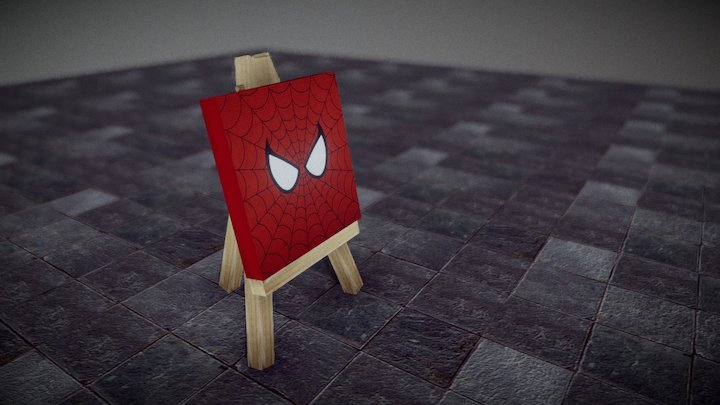 Mini-Easel and Canvas 3D Model