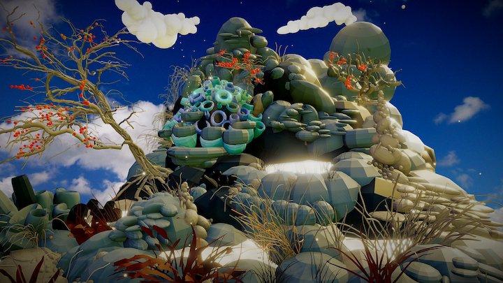 """TiltBrush and Google Blocks: """"Alien Desert Rock"""" 3D Model"""