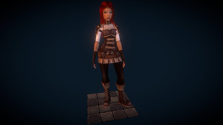 Evelyn Bolt (low poly character) 3D Model