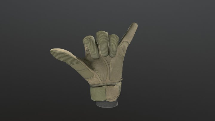 Tactical Glove with hand positions 3D Model