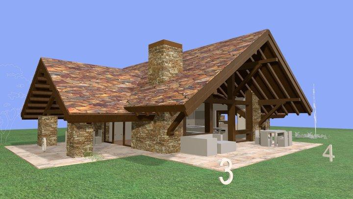 Estudio de Casa con 3 porches 3D Model