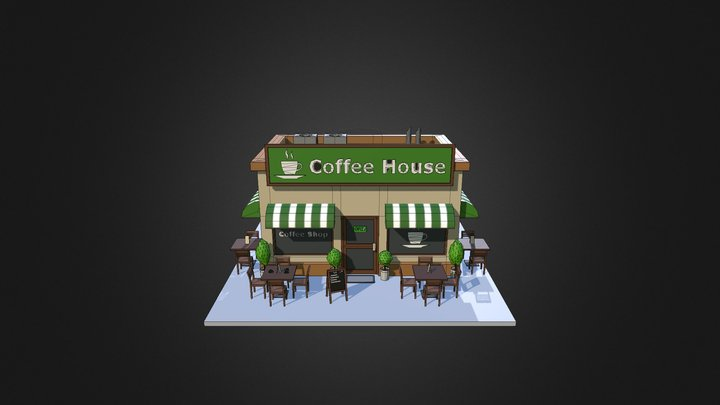 Low Poly Coffee Shop 3D Model