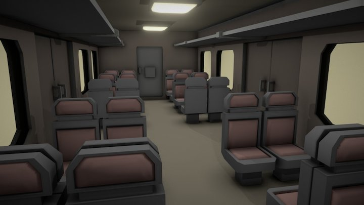 VR train wagon 3D Model