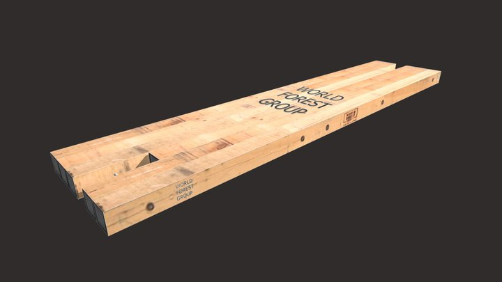 "8""x48""x18' Two Notch WFG Eucalyptus Hardwood Mat 3D Model"