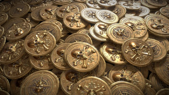 Old Historical Pirate Coin Stack 3D Model