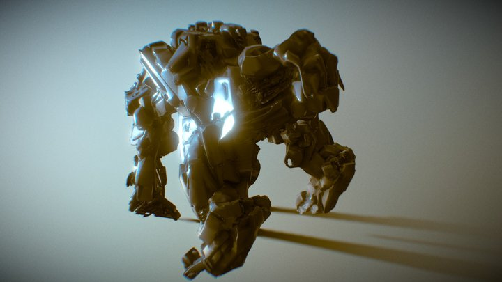 Walker Battle Mecha  Concept Design 3D Model