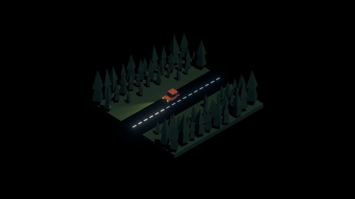 A Lonely Drive 3D Model