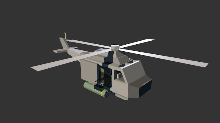 UH-1Y Venom(Rust Attack Helicopter) 3D Model