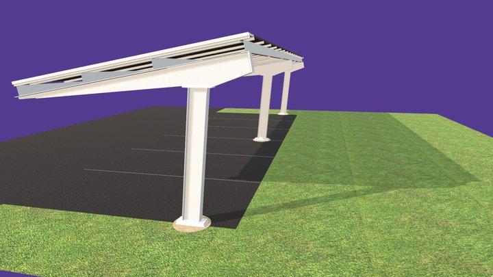 3 Panel Bay Solar Carport 3D Model
