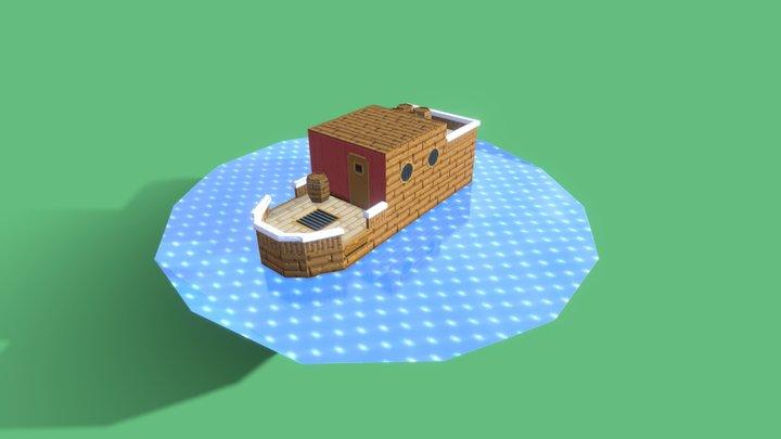 Barco com canhão 3D Model