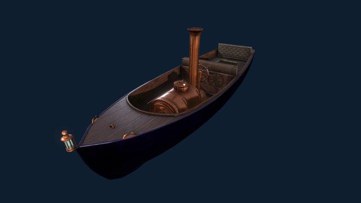 Antique motorboat 3D Model