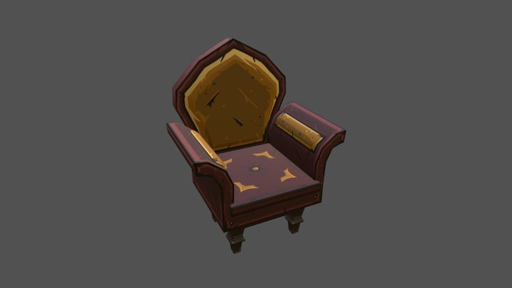 Hand Painted Armchair 3D Model