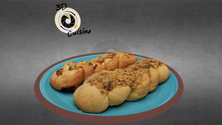 Mushroom Bacon & Rousong Pork Pretzel Bread 3D Model