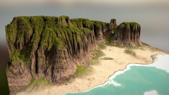 Tropical Beach Cliffs 3D Model