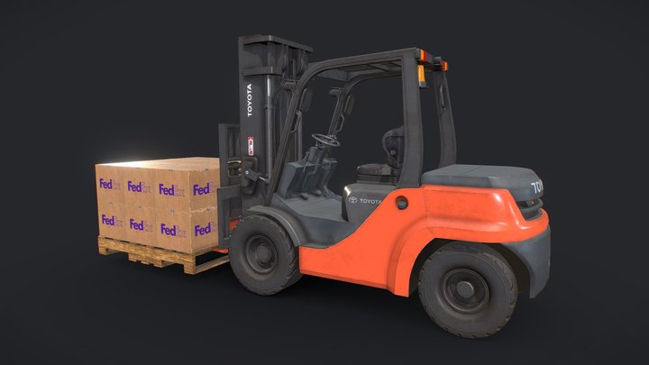 Toyota Pneumatic Tire Forklift with Boxes 3D Model