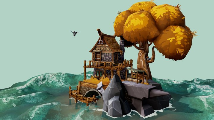 Obsidian Isle, home of the Seaforger 3D Model