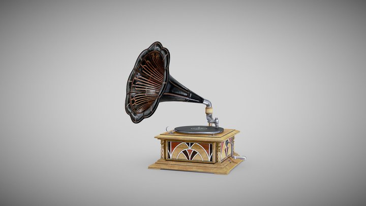 Gramophone Art Deco 3D Model