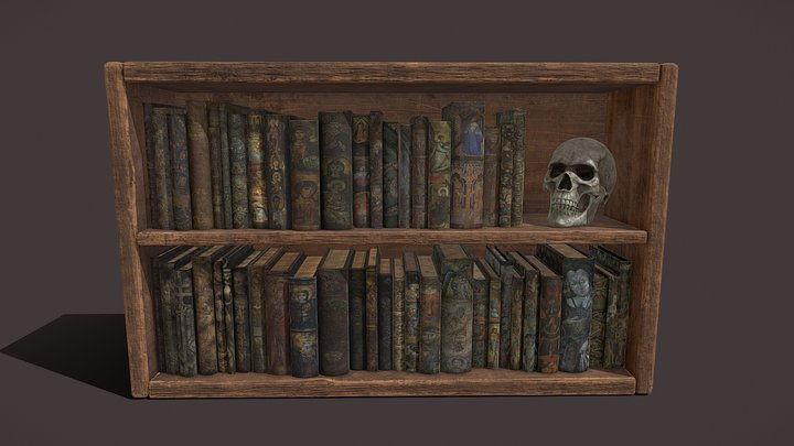 Medieval Books And Skull Package 3D Model