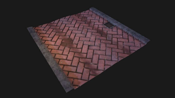 Herringbone brick street 3D Model