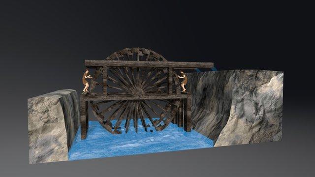 Roman Water Wheel (Noria / Roda Hidráulica) 3D Model