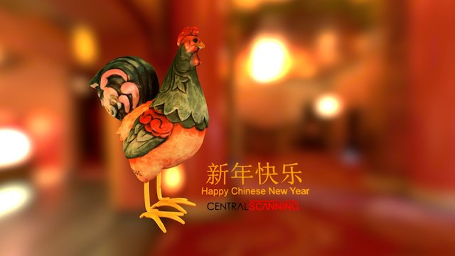 新年快乐 Chinese New Year 2017 - Year of the Rooster 3D Model