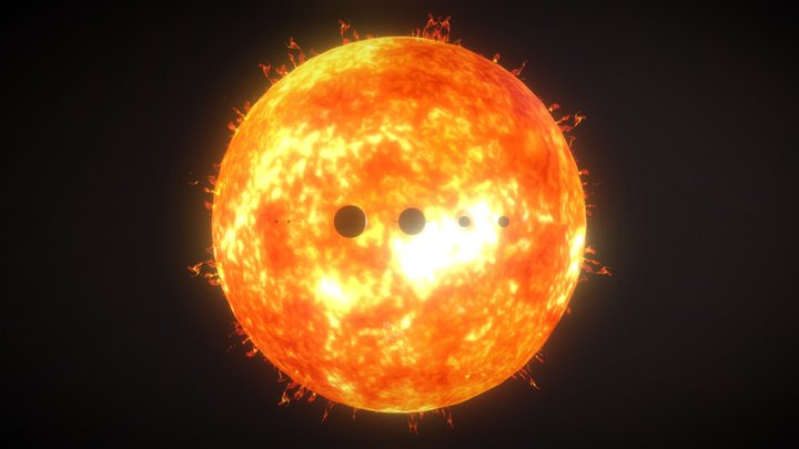 Le système Solaire, comparaison des tailles 3D Model