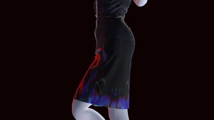 Kung Fu Dragon Yin Yang Fitted Skirt 3D Model
