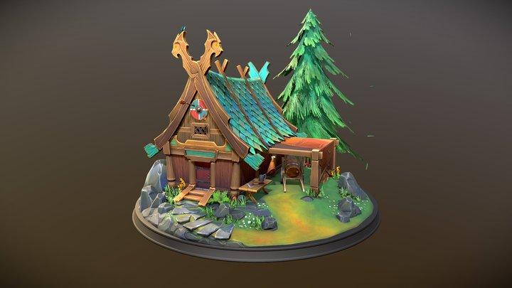 Stylized Nordic Cabin 3D Model