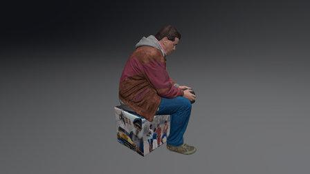 MAN SITTING ON CUBE 3D Model