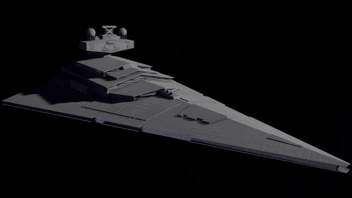 Low Poly Imperial Star Destroyer 3D Model