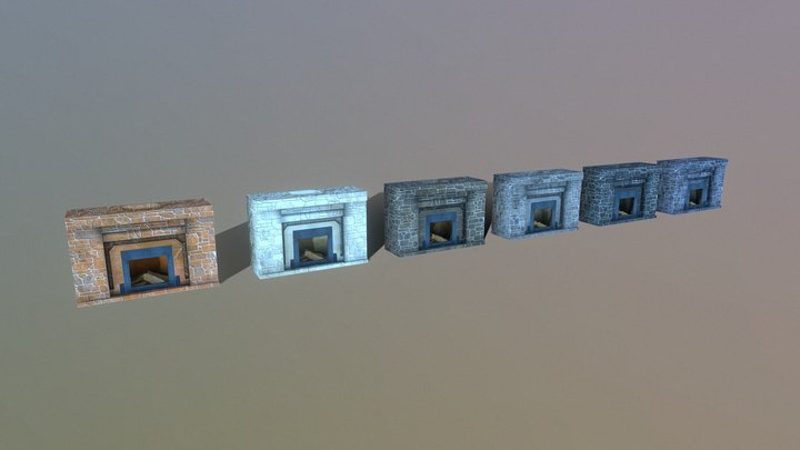 Mortared Stone Fireplace 3D Model